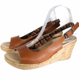 CROCS Brown Leather Sling Back Cork Wedge Sandal 8